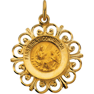 14K Yellow Gold First Communion Pendant