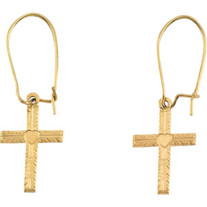 14K Gold Earwire with Cross