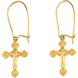 14K Gold Earwire with Crucifix