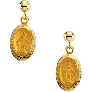 14K Gold Miraculous Ball Dangle Earring With Back