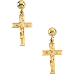 14K Gold Crucifix Ball Dangle Earring With Back