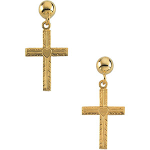 14K Gold Cross with Heart Ball Dangle Earring With Back