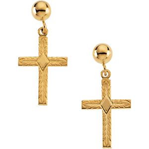 14K Gold Cross Ball Dangle Earring With Back
