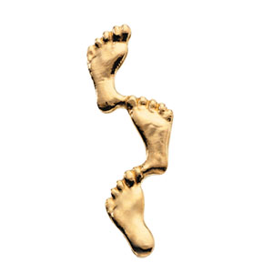 14K Gold Footprints In The Sand Lapel Pin