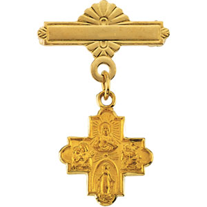 14K Gold 4-Way Cross Baptismal Pin