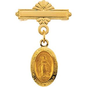 14K Gold Miraculous Baptismal Pin