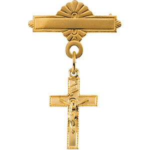14K Gold Crucifix Baptismal Pin