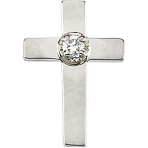 14K Gold Cross Lapel Pin with Diamond