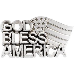 14K Yellow Gold God Bless America Lapel Pin