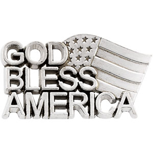 Sterling Silver God Bless America Lapel Pin with Chain