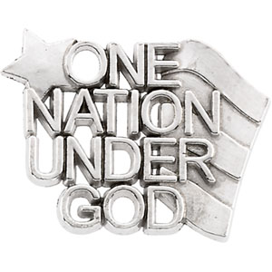 Sterling Silver One Nation Under God Lapel Pin with Chain
