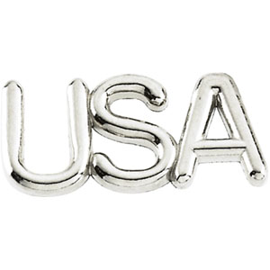 14K White Gold Usa Lapel Pin