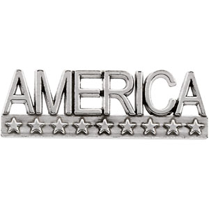 White Gold America Lapel Pin