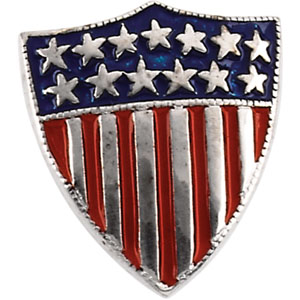 14K White Gold America Shield Of Honor Lapel