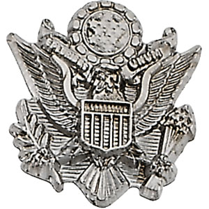 White Gold Us Army Lapel Pin