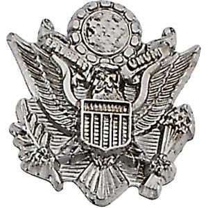 White Gold Us Army Lapel Pin