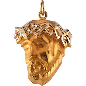 14K Yellow Gold Head Of Jesus with Crown Pendant