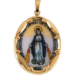 14K Yellow Gold Porcelain Miraculous Medal