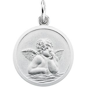 14K White Gold Rd. Angel Pendant Pendant