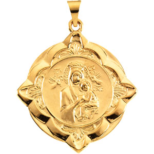 14K Yellow Gold Lady Of Perpetual Help Pendant