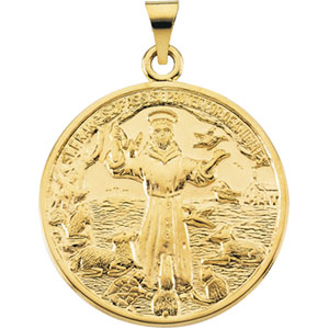 14K Yellow Gold St. Francis Pendant