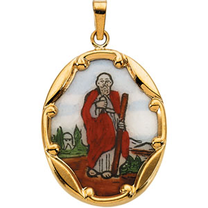 14K Yellow Gold Porcelain St. Jude Pendant