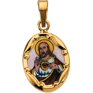 14K Yellow Gold Porcelain Sacred Heart Pendant
