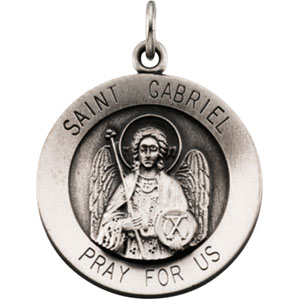 Sterling Silver Round St. Gabriel Pendant Pendant with Chain