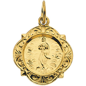 14K Yellow Gold Our Lady Of Assumption Pendant