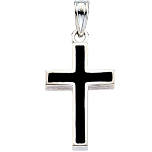 14K White Gold Cross with Black Epoxy