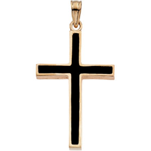 14K Yellow Gold Cross with Black Epoxy