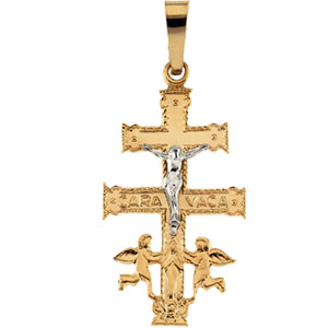 14K Yellow Gold/White Two Tone Cara Vaca Cross Pendant