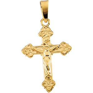 14K Yellow Gold Childs Crucifix Pendant