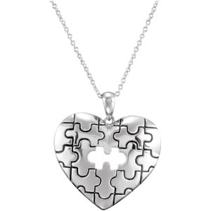 Sterling Silver Pc Of My Heart Neck with CaRound & Box