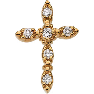 14K Gold Cross Pendant with Diamond