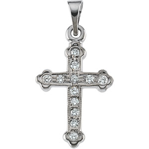 14K White Gold Cross Pendant with Diamond