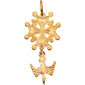 14K Yellow Gold Huguenot Cross Pendant