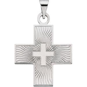 14K White Gold Greek Cross Pendant