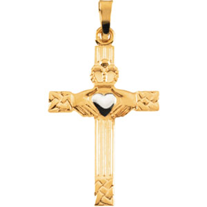 14K Yellow Gold/White Tt Claddagh Cross Pendant