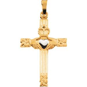 14K Yellow Gold/White Tt Claddagh Cross Pendant