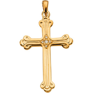 14K Yellow Gold Cross Pendant with Diamond