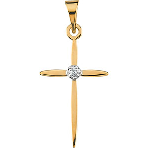 14K Yellow Gold/White Cross Pendant with Diamond