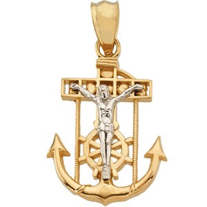 14K Yellow Gold/White Two Tone Mariners Cross