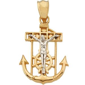 14K Yellow Gold/White Two Tone Mariners Cross