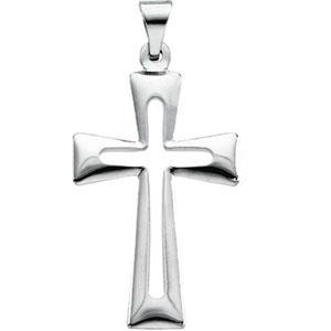 14K White Gold Cross Pendant