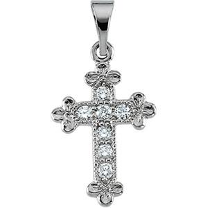 14K White Gold Cross Pendant with Diamond