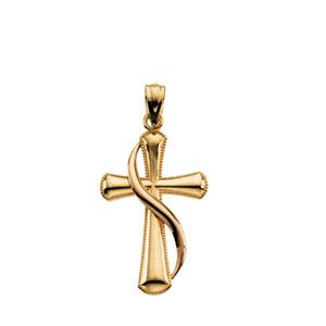14K Yellow Gold 14Ky/Rose Cross Pendant