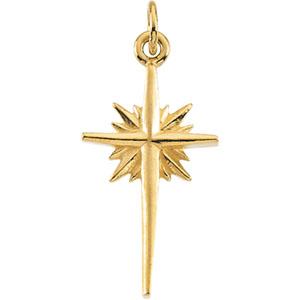 14K White Gold Star Pendant
