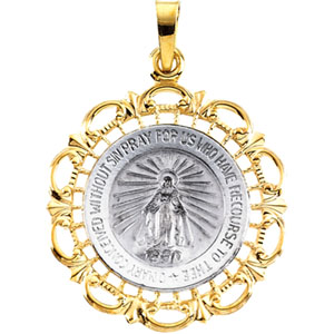 14K White Gold/Yellow Two Tone Miraculous Medal