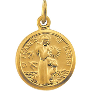 14K Yellow Gold St. Francis Of Assisi Pendant
